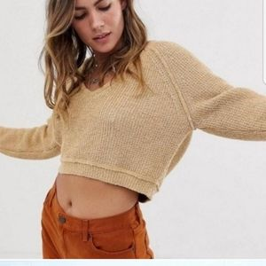 FREE PEOPLE V-Neck Cropped Sweater XS
